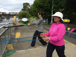 Outdoor workout at the Ballard Locks